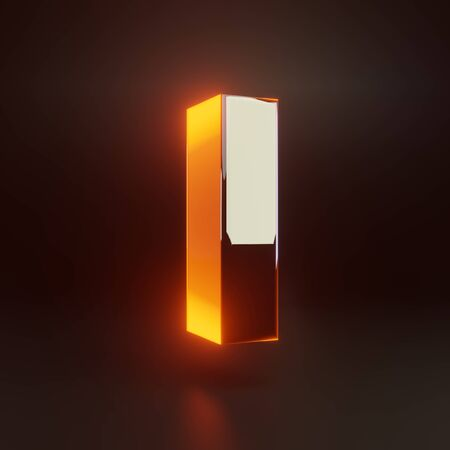 3d letter L lowercase. Glowing glossy metallic font with orange lights isolated on black background. 3D rendered shiny alphabet type for poster, banner, advertisement, decoration.