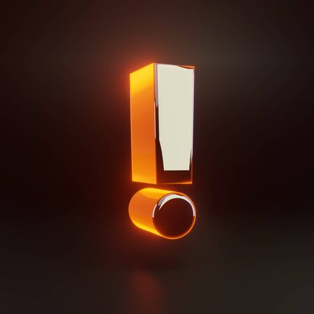3d exclamation point symbol. Glowing glossy metallic font with orange lights isolated on black background. 3D rendered shiny alphabet type for poster, banner, advertisement, decoration.