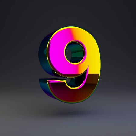 Holographic number 9 isolated on black. 3D rendered multichrome glossy alphabet type for poster, banner, advertisement, decoration.