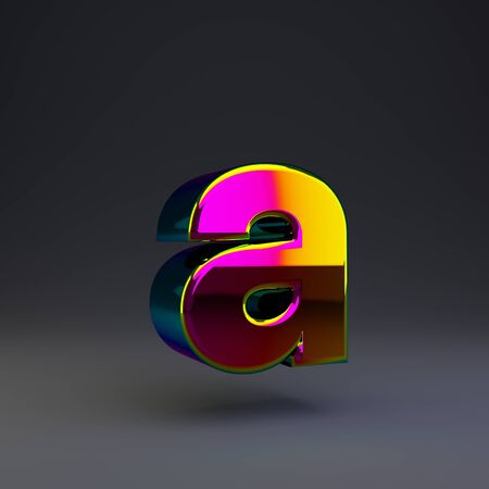 Holographic letter A lowercase isolated on black. 3D rendered multichrome glossy alphabet type for poster, banner, advertisement, decoration.