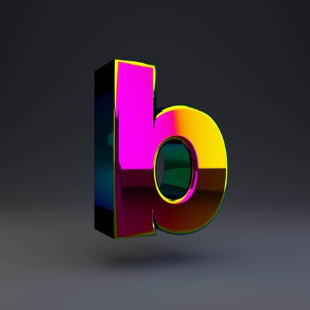 Holographic letter B lowercase isolated on black. 3D rendered multichrome glossy alphabet type for poster, banner, advertisement, decoration. Stok Fotoğraf