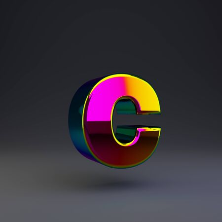 Holographic letter C lowercase isolated on black. 3D rendered multichrome glossy alphabet type for poster, banner, advertisement, decoration.
