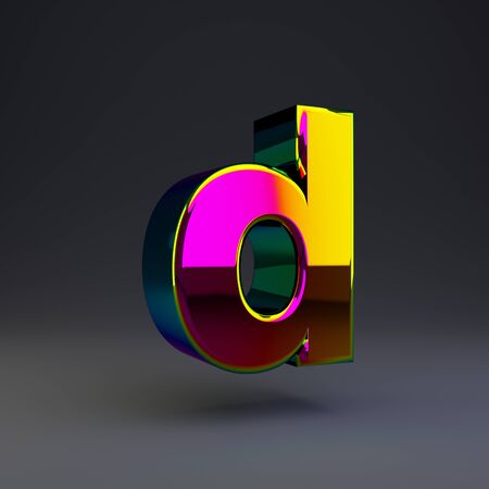 Holographic letter D lowercase isolated on black. 3D rendered multichrome glossy alphabet type for poster, banner, advertisement, decoration.