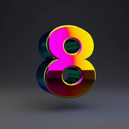 Holographic number 8 isolated on black. 3D rendered multichrome glossy alphabet type for poster, banner, advertisement, decoration.