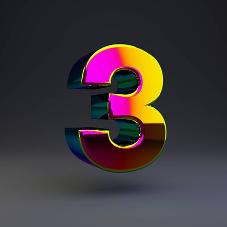 Holographic number 3 isolated on black. 3D rendered multichrome glossy alphabet type for poster, banner, advertisement, decoration.