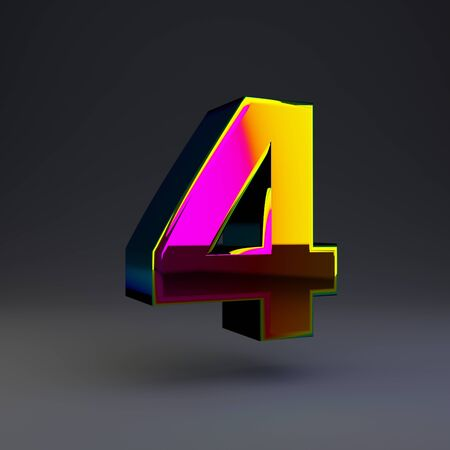 Holographic number 4 isolated on black. 3D rendered multichrome glossy alphabet type for poster, banner, advertisement, decoration. Stok Fotoğraf