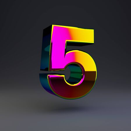 Holographic number 5 isolated on black. 3D rendered multichrome glossy alphabet type for poster, banner, advertisement, decoration.
