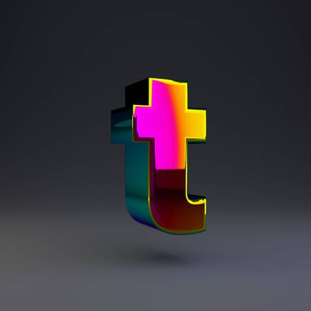 Holographic letter T lowercase isolated on black. 3D rendered multichrome glossy alphabet type for poster, banner, advertisement, decoration.
