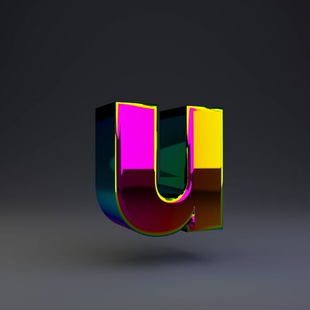 Holographic letter U lowercase isolated on black. 3D rendered multichrome glossy alphabet type for poster, banner, advertisement, decoration. Stok Fotoğraf