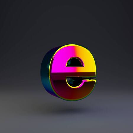 Holographic letter E lowercase isolated on black. 3D rendered multichrome glossy alphabet type for poster, banner, advertisement, decoration. Stok Fotoğraf