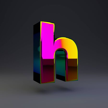 Holographic letter H lowercase isolated on black. 3D rendered multichrome glossy alphabet type for poster, banner, advertisement, decoration.