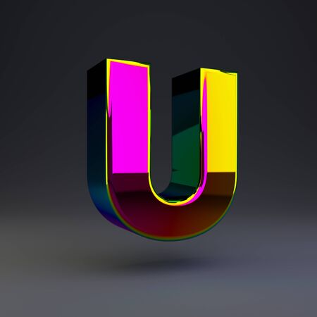 Holographic letter U uppercase isolated on black. 3D rendered multichrome glossy alphabet type for poster, banner, advertisement, decoration.