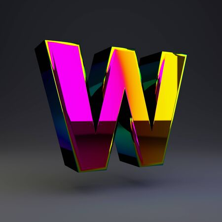 Holographic letter W uppercase isolated on black. 3D rendered multichrome glossy alphabet type for poster, banner, advertisement, decoration. Stok Fotoğraf