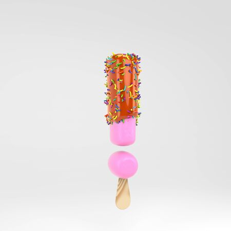 Ice cream exclamation point symbol. Pink fruit font with caramel and sprinkles. 3d rendered alphabet type isolated on white background. For banner, poster design template.