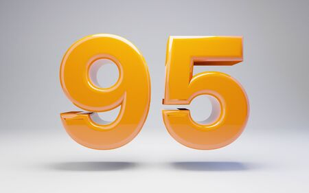 Number 95 isolated on white background. 3D rendered glossy orange number best for anniversary, birthday, celebration. Stock fotó