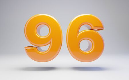 Number 96 isolated on white background. 3D rendered glossy orange number best for anniversary, birthday, celebration. Stock fotó