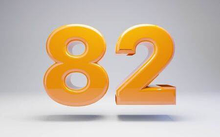 Number 82 isolated on white background. 3D rendered glossy orange number best for anniversary, birthday, celebration.