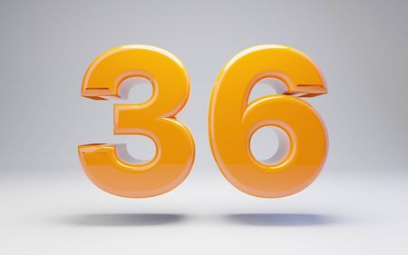 Number 36 isolated on white background. 3D rendered glossy orange number best for anniversary, birthday, celebration.