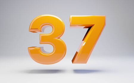 Number 37 isolated on white background. 3D rendered glossy orange number best for anniversary, birthday, celebration.