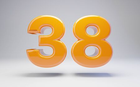 Number 38 isolated on white background. 3D rendered glossy orange number best for anniversary, birthday, celebration.