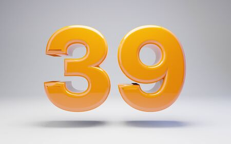 Number 39 isolated on white background. 3D rendered glossy orange number best for anniversary, birthday, celebration. Stock fotó