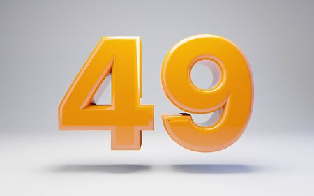 Number 49 isolated on white background. 3D rendered glossy orange number best for anniversary, birthday, celebration.