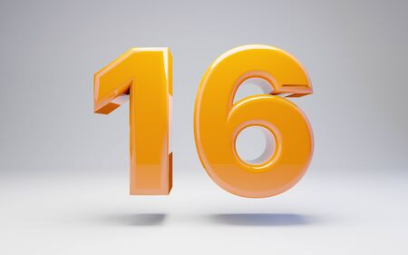 Number 16 isolated on white background. 3D rendered glossy orange number best for anniversary, birthday, celebration. Stock fotó