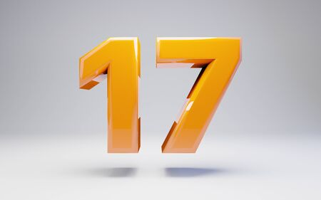 Number 17 isolated on white background. 3D rendered glossy orange number best for anniversary, birthday, celebration. Stock fotó