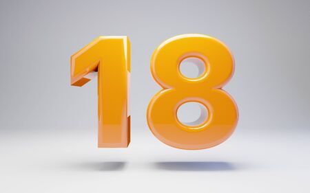 Number 18 isolated on white background. 3D rendered glossy orange number best for anniversary, birthday, celebration.