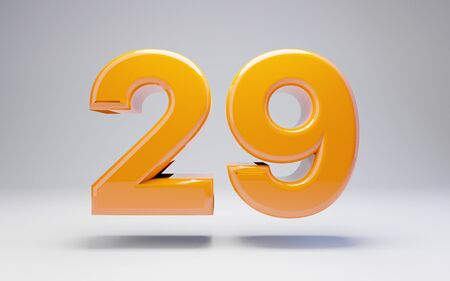 Number 29 isolated on white background. 3D rendered glossy orange number best for anniversary, birthday, celebration.