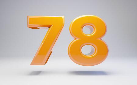 Number 78 isolated on white background. 3D rendered glossy orange number best for anniversary, birthday, celebration.