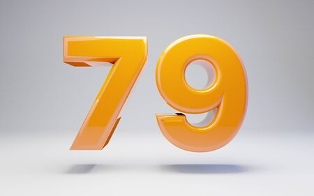 Number 79 isolated on white background. 3D rendered glossy orange number best for anniversary, birthday, celebration. Stock fotó