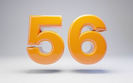 Number 56 isolated on white background. 3D rendered glossy orange number best for anniversary, birthday, celebration. Stock fotó