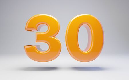 Number 30 isolated on white background. 3D rendered glossy orange number best for anniversary, birthday, celebration. Stock fotó