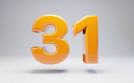 Number 31 isolated on white background. 3D rendered glossy orange number best for anniversary, birthday, celebration. Stock fotó