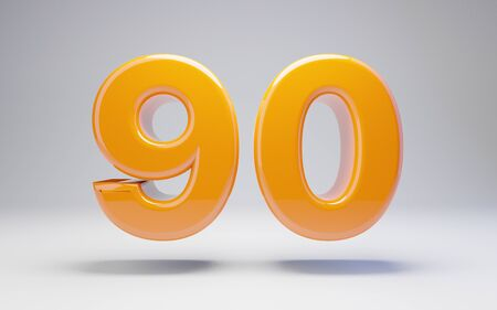 Number 90 isolated on white background. 3D rendered glossy orange number best for anniversary, birthday, celebration.
