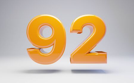 Number 92 isolated on white background. 3D rendered glossy orange number best for anniversary, birthday, celebration.