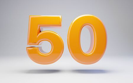 Number 50 isolated on white background. 3D rendered glossy orange number best for anniversary, birthday, celebration.