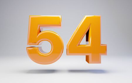 Number 54 isolated on white background. 3D rendered glossy orange number best for anniversary, birthday, celebration.