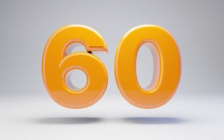 Number 60 isolated on white background. 3D rendered glossy orange number best for anniversary, birthday, celebration.