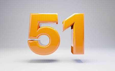 Number 51 isolated on white background. 3D rendered glossy orange number best for anniversary, birthday, celebration. Stock fotó