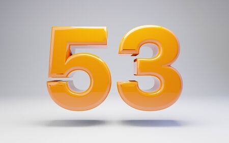 Number 53 isolated on white background. 3D rendered glossy orange number best for anniversary, birthday, celebration. Stock fotó