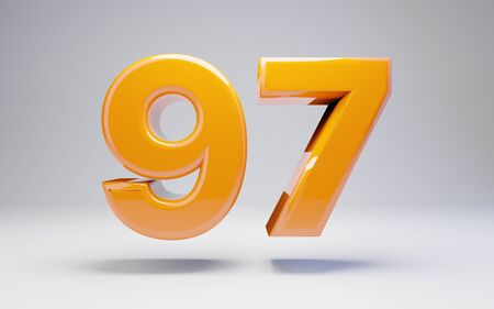 Number 97 isolated on white background. 3D rendered glossy orange number best for anniversary, birthday, celebration.