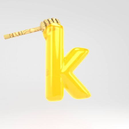 Letter K lowercase. Honey font with dipper. 3d rendered yellow alphabet type isolated on white background. Stok Fotoğraf