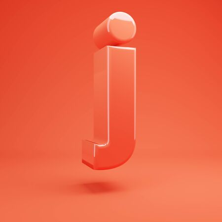 Living Coral letter J lowercase. 3D rendered glossy coral alphabet type for poster, banner, advertisement, decoration.