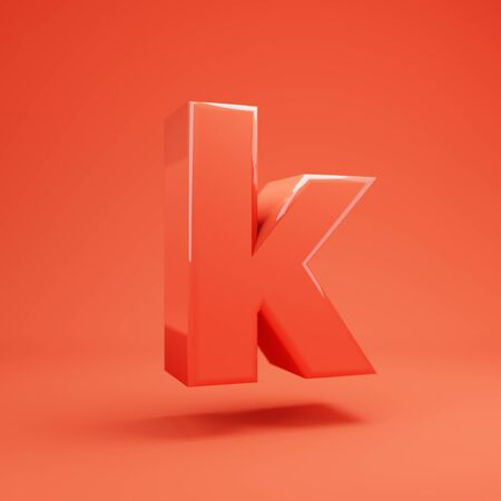 Living Coral letter K lowercase. 3D rendered glossy coral alphabet type for poster, banner, advertisement, decoration.