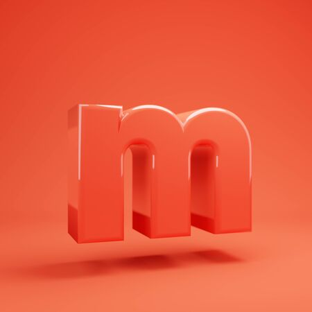 Living Coral letter M lowercase. 3D rendered glossy coral alphabet type for poster, banner, advertisement, decoration.