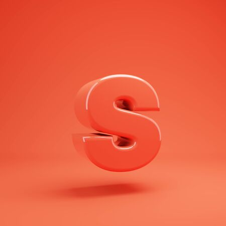Living Coral letter S lowercase. 3D rendered glossy coral alphabet type for poster, banner, advertisement, decoration. 写真素材 - 128847392