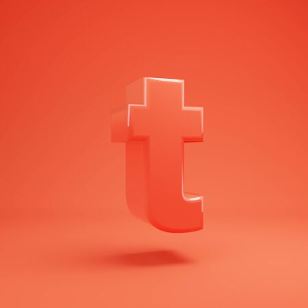 Living Coral letter T lowercase. 3D rendered glossy coral alphabet type for poster, banner, advertisement, decoration. 写真素材 - 128847389
