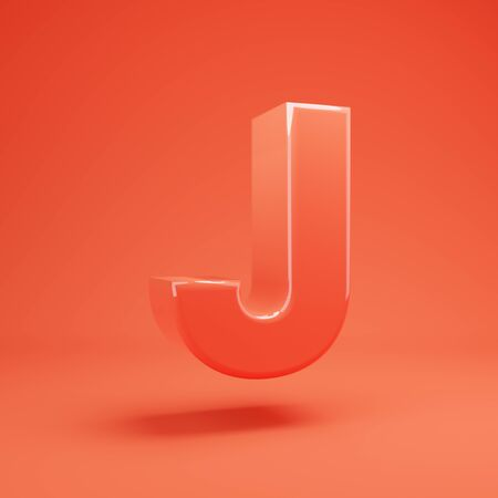 Living Coral letter J uppercase. 3D rendered glossy coral alphabet type for poster, banner, advertisement, decoration. 写真素材 - 128847394